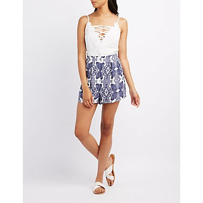Crochet & Printed Lattice Romper