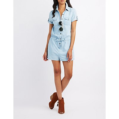 Chambray Button-Up Romper