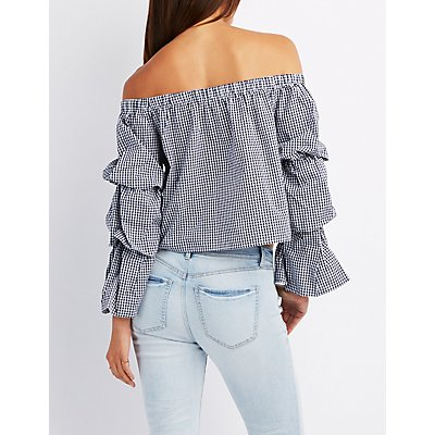 Gingham Off-The-Shoulder Top