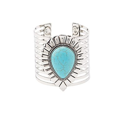 Faux Turquoise Caged Cuff Bracelet