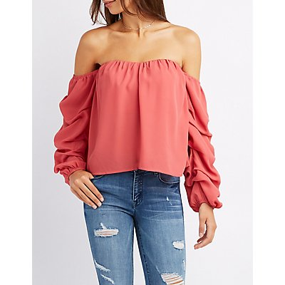 Ruched Sleeve Off-The-Shoulder Top