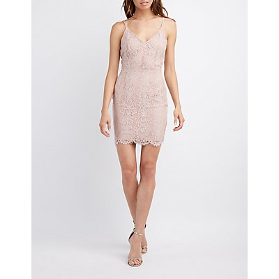 Lace Caged-Back Bodycon Dress