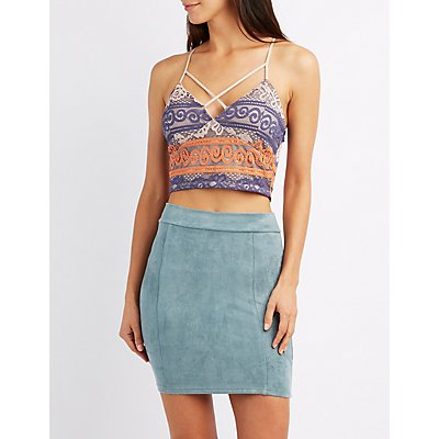 Colorblock Strappy Lace Crop Top
