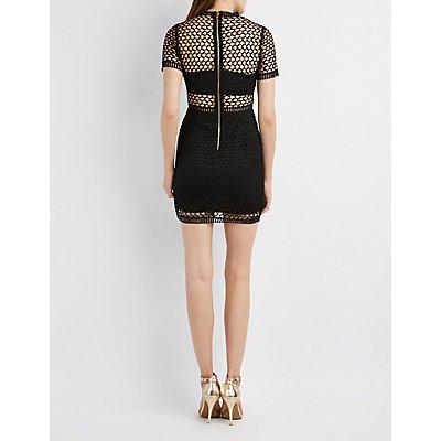 Crochet Overlay Bodycon Dress