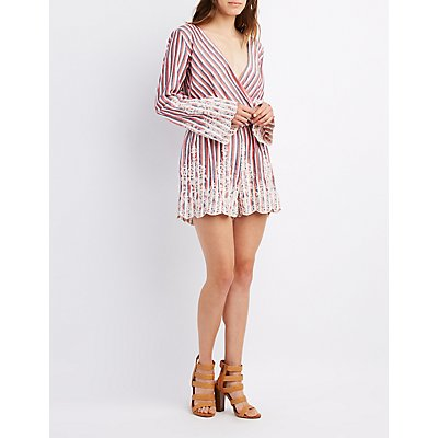 Striped Surplice Embroidered Romper