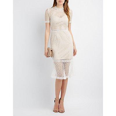 Macrame Flounce Midi Dress