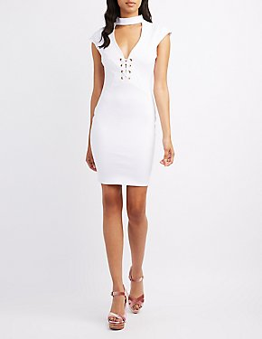 Choker Neck Lace-Up Bodycon Dress
