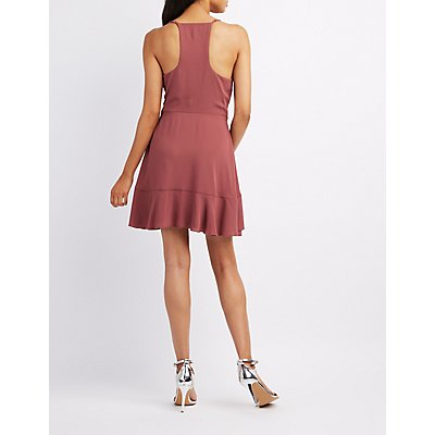 Ruffle-Trim Surplice Skater Dress