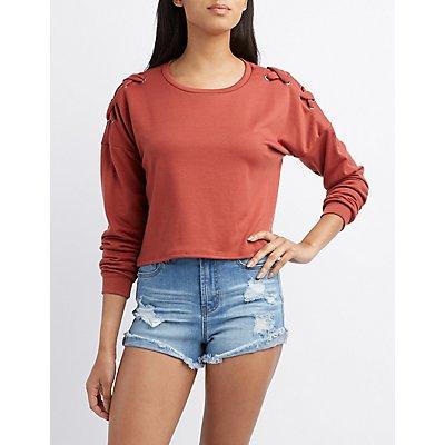 Lace Detail Cropped Sweatshirt