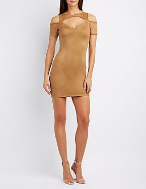 Faux Suede Cold Shoulder Dress