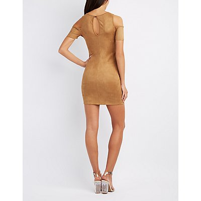Faux Suede Cold Shoulder Dress