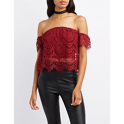 Crochet Off-The-Shoulder Crop Top