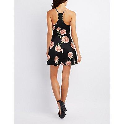 Floral Caged Skater Dress
