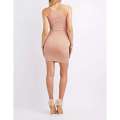 Ribbed Lattice-Front Bodycon Dress