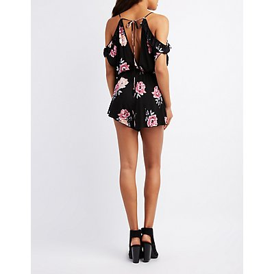 Floral Cold Shoulder Ruffle Romper