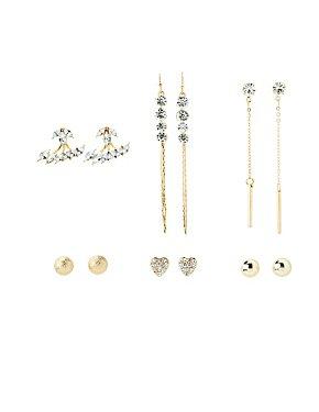 Embellished Stud & Chandelier Earrings - 6 Pack