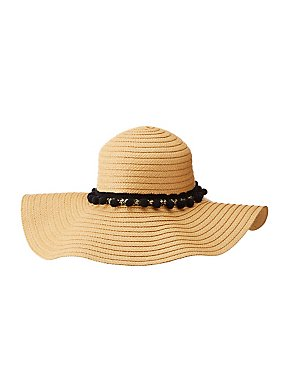 Embellished Floppy Straw Hat