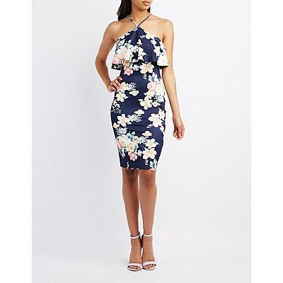 Floral V-Strap Ruffle Dress