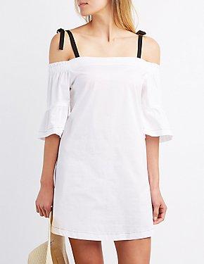 Poplin Cold Shoulder Shift Dress
