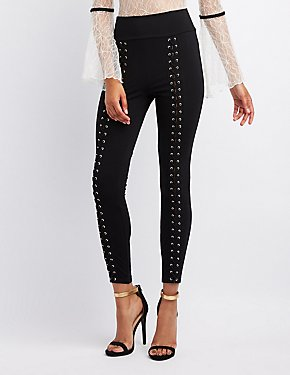 Lace-Up High-Rise Leggings