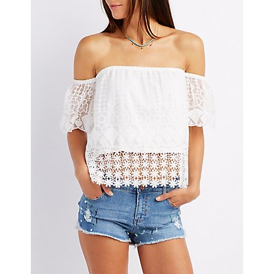 Embroidered Mesh Off-The-Shoulder Top