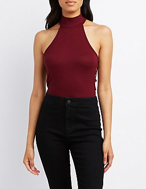 Ribbed Mock Neck Lattice-Trim Top