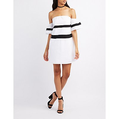 Colorblock Off-The-Shoulder Dress