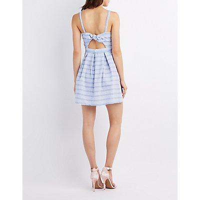 Striped Seersucker Pleated Dress