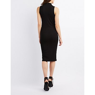 Ribbed Choker Neck Bodycon Dress