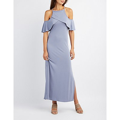 Ruffle-Trim Cold Shoulder Maxi Dress