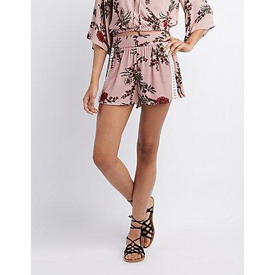 Floral Crochet-Inset Shorts