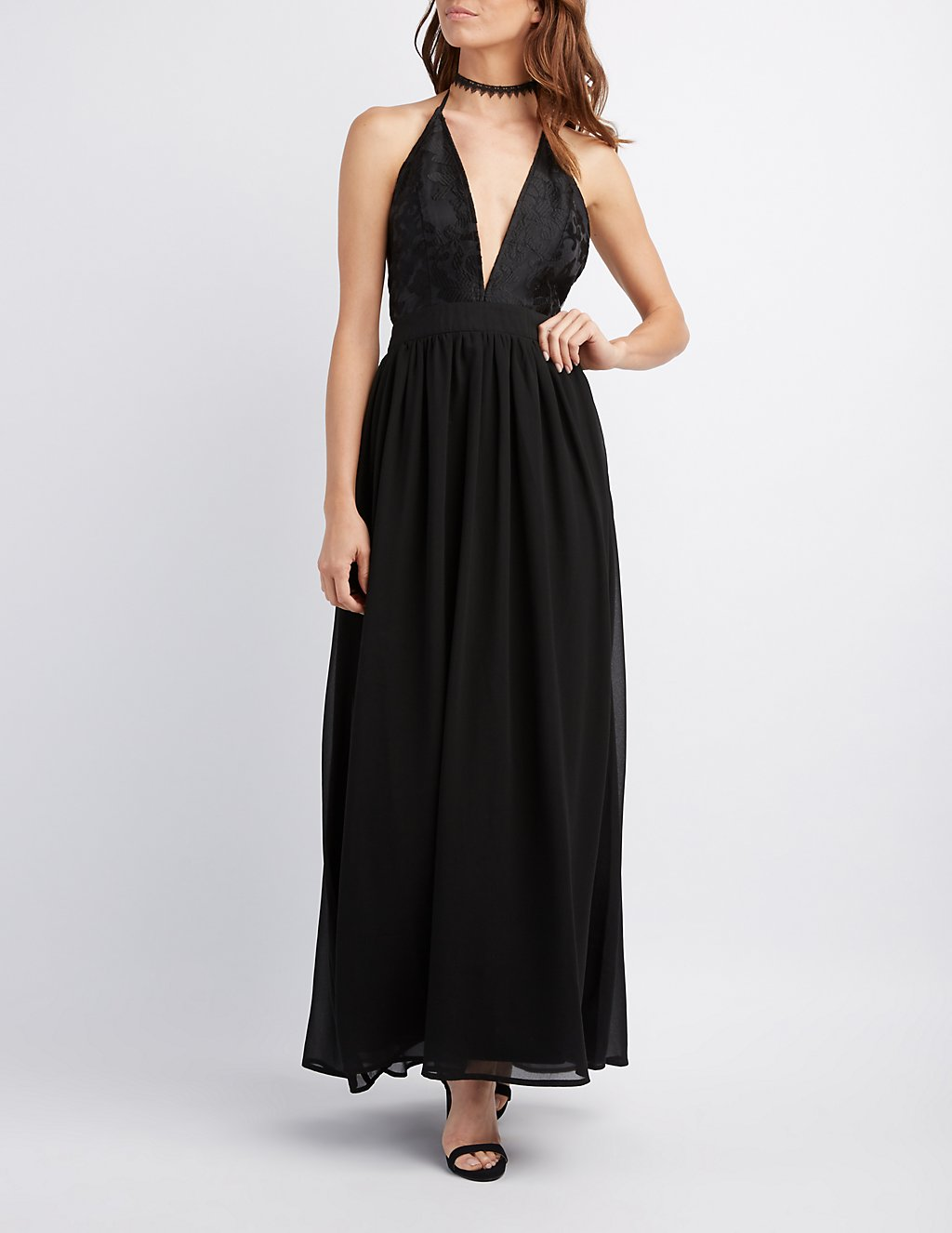 Embroidered Halter Maxi Dress | Charlotte Russe
