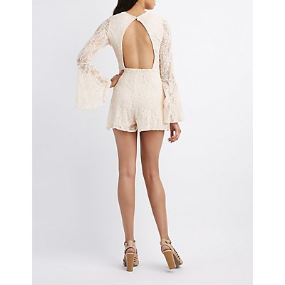 Lace Lattice Bell Sleeve Romper