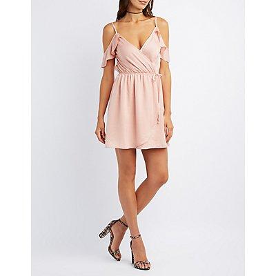 Surplice Cold Shoulder Wrap Dress