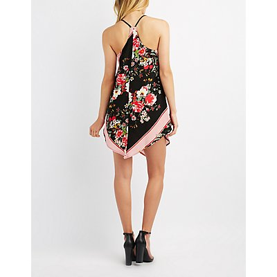 Floral Handkerchief Hem Shift Dress
