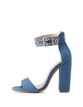 Embroidered Denim Two-Piece Sandals