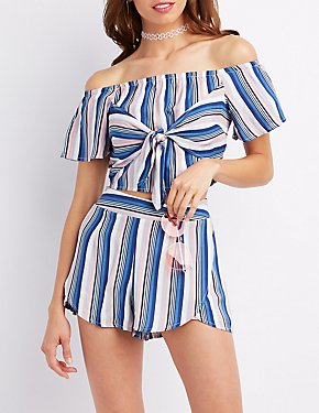 Striped Off-The-Shoulder Tie Crop Top