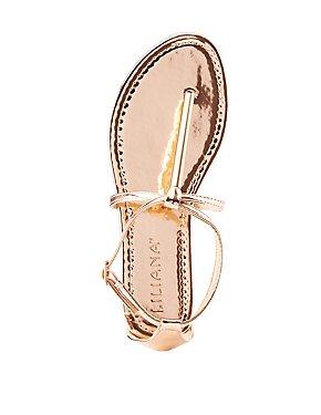 Glold-Trim T-Strap Sandals