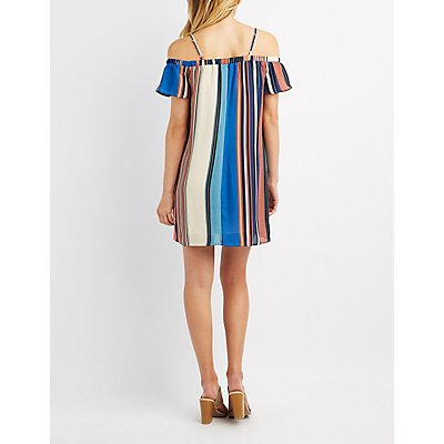 Striped Cold Shoulder Shift Dress