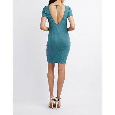 Ribbed T-Back Bodycon Dress