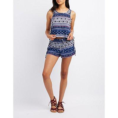 Paisley Lace-Up Shorts