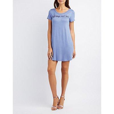 Lace-Up Detail Shift Dress