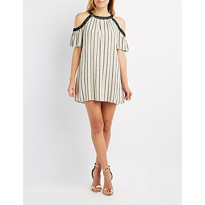 Crochet-Trim Striped Cold Shoulder Shift Dress