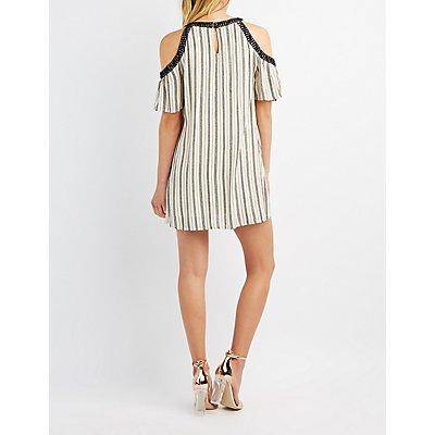 Crochet-Trim Striped Cold Shoulder Shift Dress