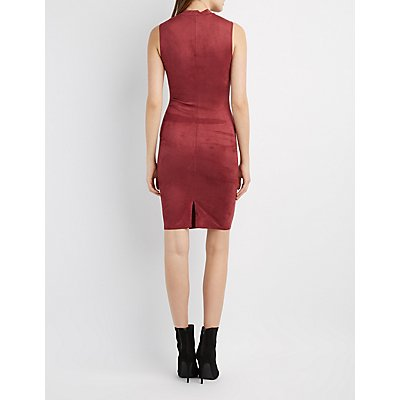 Faux Suede Choker Neck Dress