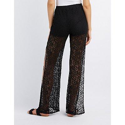 Shadow Lace Wide-Leg Pants