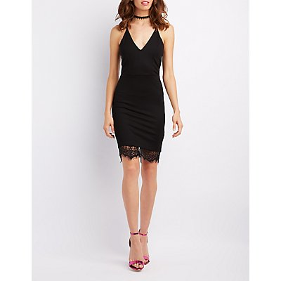 Lace-Trim Racerback Bodycon Dress