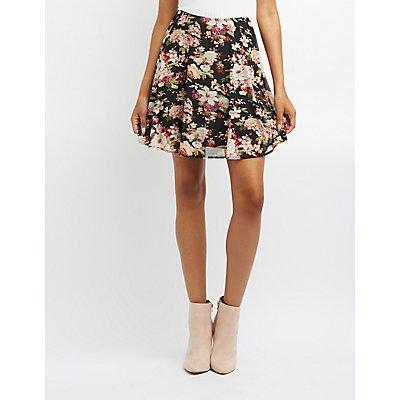 Floral Mesh Skater Skirt