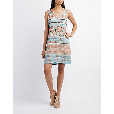 Strappy Boho Print Shift Dress