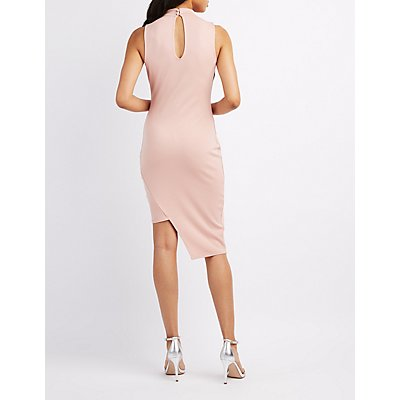 Choker Neck Asymmetrical Bodycon Dress
